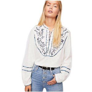 🆕 Free People Sundance Kid Embroidered Henley Top